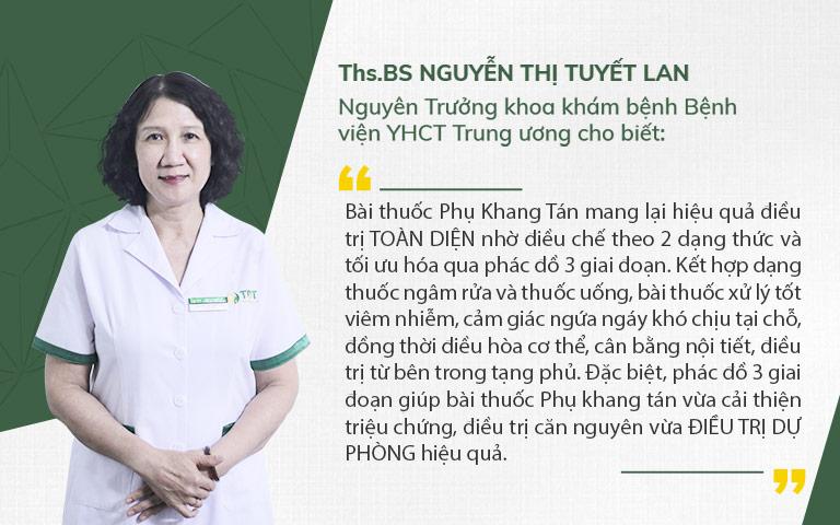 Bác sĩ Tuyết Lan đánh giá về Phụ Khang tán