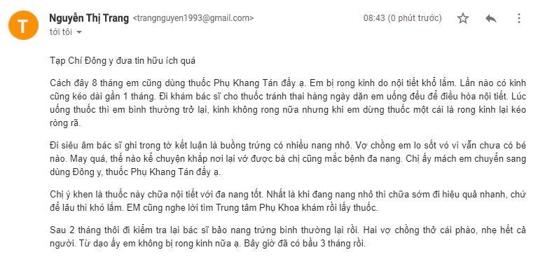 Bệnh nhân gửi email về cho Tạp Chí Đông y chia sẻ kết quả chữa trị rong kinh tại TT Phụ Khoa Đông Y Việt Nam