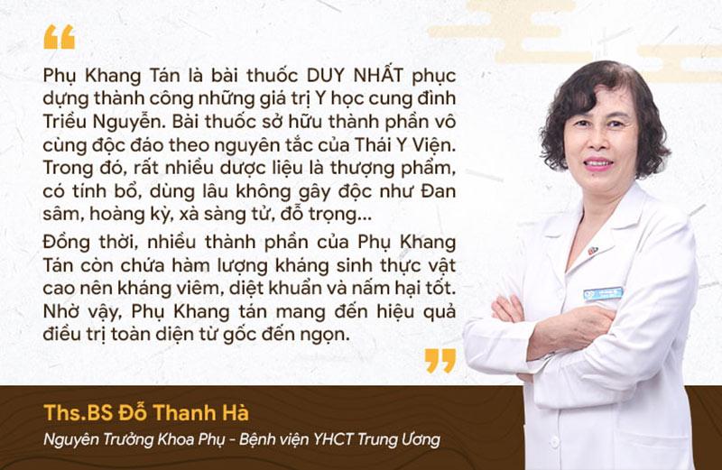 Ths.BS Đỗ Thanh Hà nhận định về Phụ Khang Tán