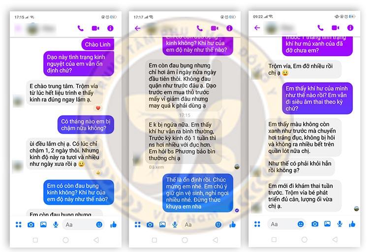 Một số tin nhắn phản hồi kết quả điều trị bệnh kinh nguyệt của người bệnh