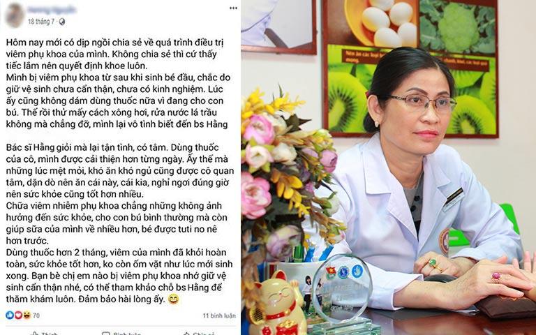 Bệnh nhân chia sẻ hành trình chữa bệnh phụ khoa cùng Thầy thuốc Bùi Thị Thu Hằng trên Facebook
