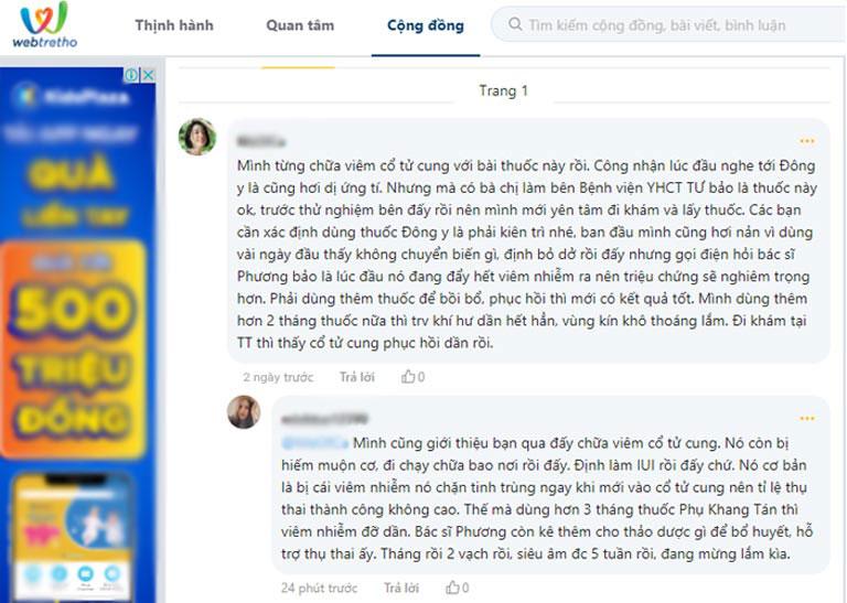 Phản hồi của bệnh nhân viêm cổ tử cung về Phụ Khang Tán