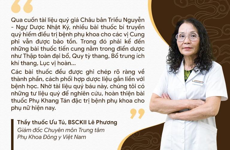 Bác sĩ Lê Phương chia sẻ về việc nghiên cứu cải tiến Phụ Khang Tán theo Châu Bản
