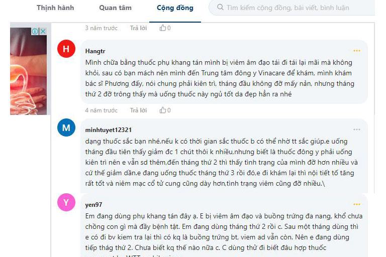 Người bệnh nói về bài thuốc Phụ Khang Tán của Trung tâm Phụ Khoa Đông y trên webtretho