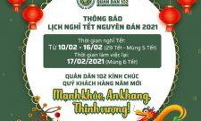 CTCP Bệnh viện Quân Dân 102 thông báo lịch nghỉ tết Tân Sửu 2021