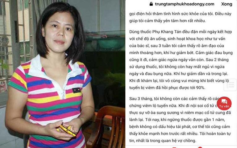 Chị Nguyễn Thanh Lương chia sẻ chữa khỏi viêm lộ tuyến nhờ Phụ Khang Tán