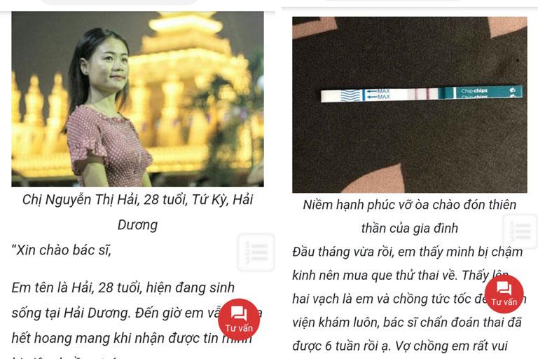 Chị Nguyễn Thị Hải vui mừng báo tin mang thai sau khi chữa khỏi viêm buồng trứng tại trung tâm