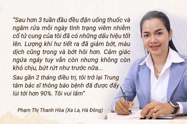 Chị Phạm Thị Hòa chia sẻ khi điều trị bằng Phụ Khang Tán