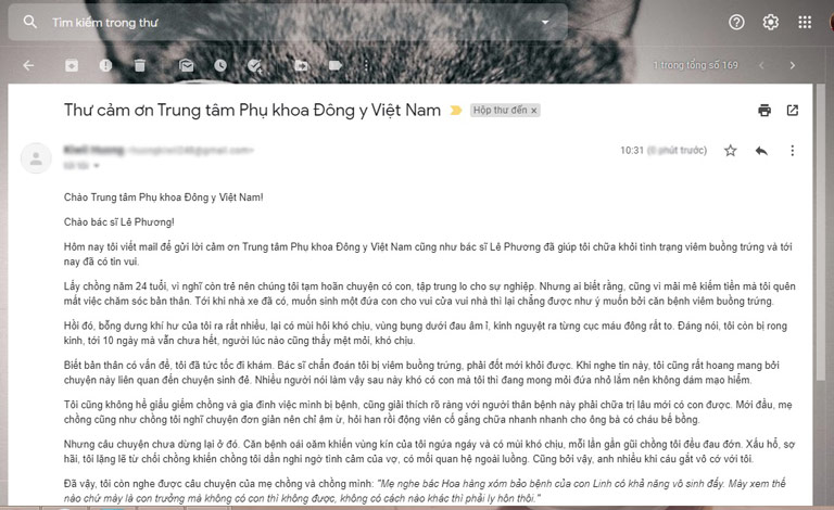 Email chia sẻ của chị Linh sau khi điều trị bệnh bằng Phụ Khang Tán
