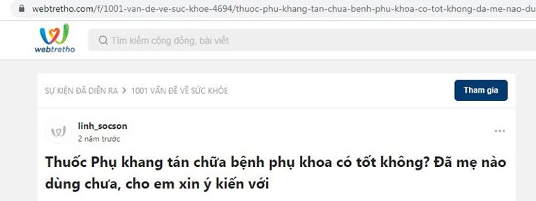 Post đề cập tới Phụ Khang Tán trên webtretho nhận được sự quan tâm của nhiều chị em