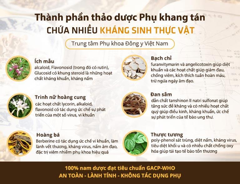 Phụ Khang Tán sở hữu nhiều kháng sinh thực vật