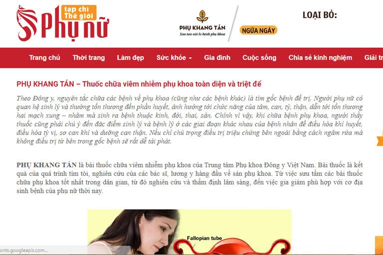 Thông tin về Phụ Khang Tán trên một chuyên trang dành cho phụ nữ