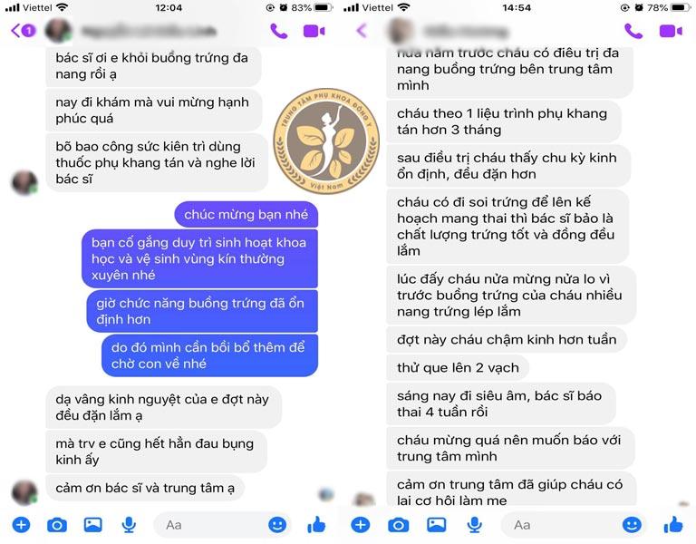 Tin nhắn người bệnh gửi về Trung tâm phản hồi về hiệu quả của Phụ Khang Tán
