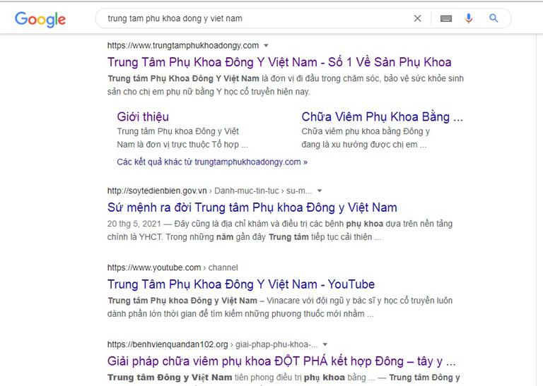 Kết quả tìm kiếm trên Google cung cấp rất nhiều thông tin về Trung tâm Phụ khoa Đông y Việt Nam