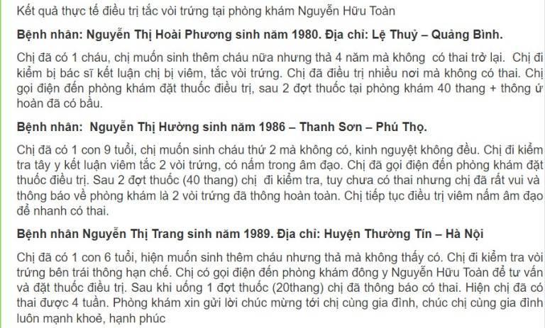 Nhiều phản hồi tích cực về bài thuốc của lương y Nguyễn Hữu Toàn chữa tắc vòi trứng