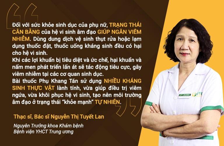 Bác sĩ Tuyết Lan đánh giá cao Phụ Khang Tán nhờ thành phần kháng sinh thực vật