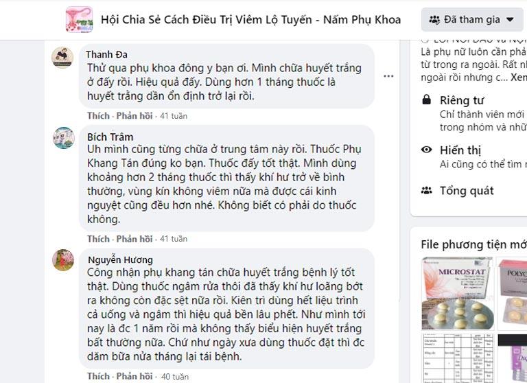 Phản hồi của bệnh nhân huyết trắng về Phụ Khang tán trên Facebook