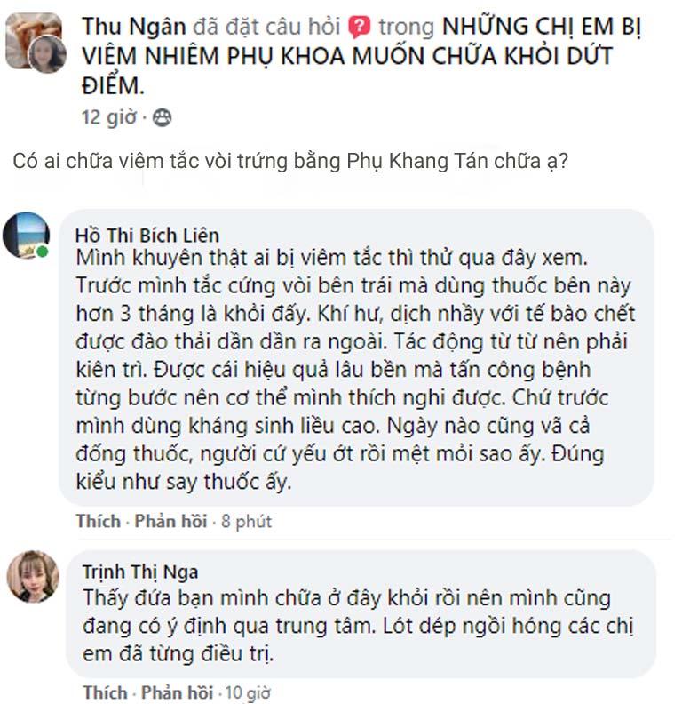 Chị em thảo luận về hiệu quả của Phụ Khang Tán trong chữa viêm tắc vòi trứng trên Facebook