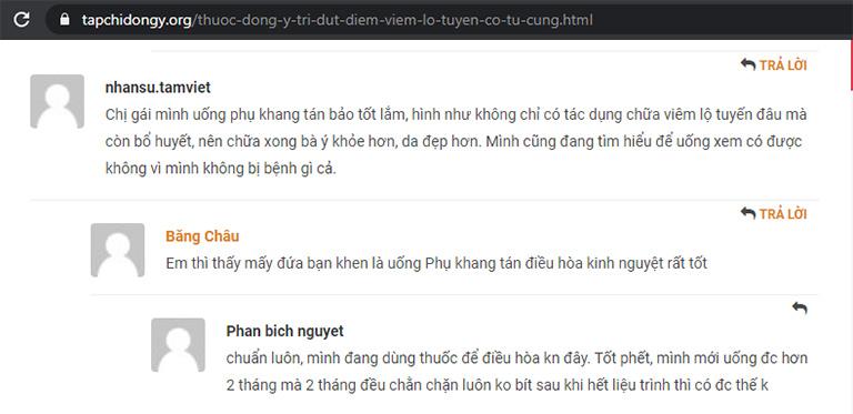 Chị em chia sẻ về khả năng ổn định kinh nguyệt của Phụ Khang Tán