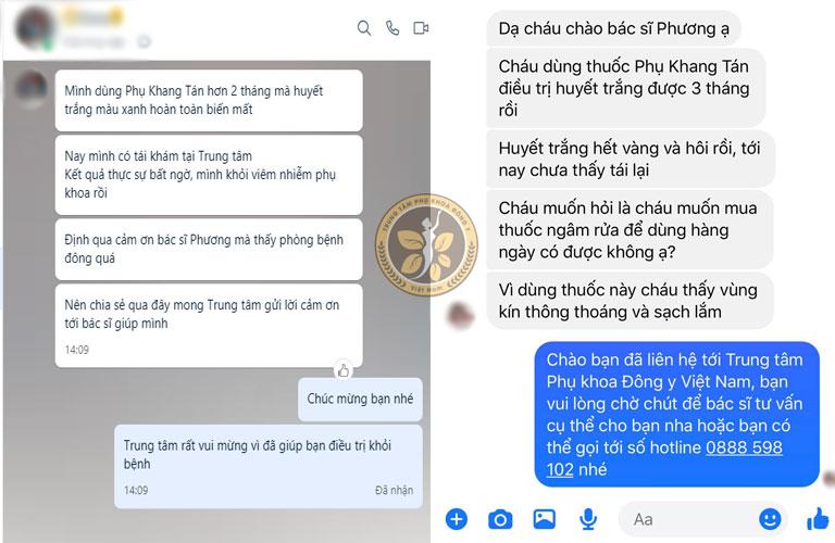 Tin nhắn người bệnh gửi về Trung tâm phản hồi về hiệu quả sau khi điều trị huyết trắng với Phụ Khang Tán